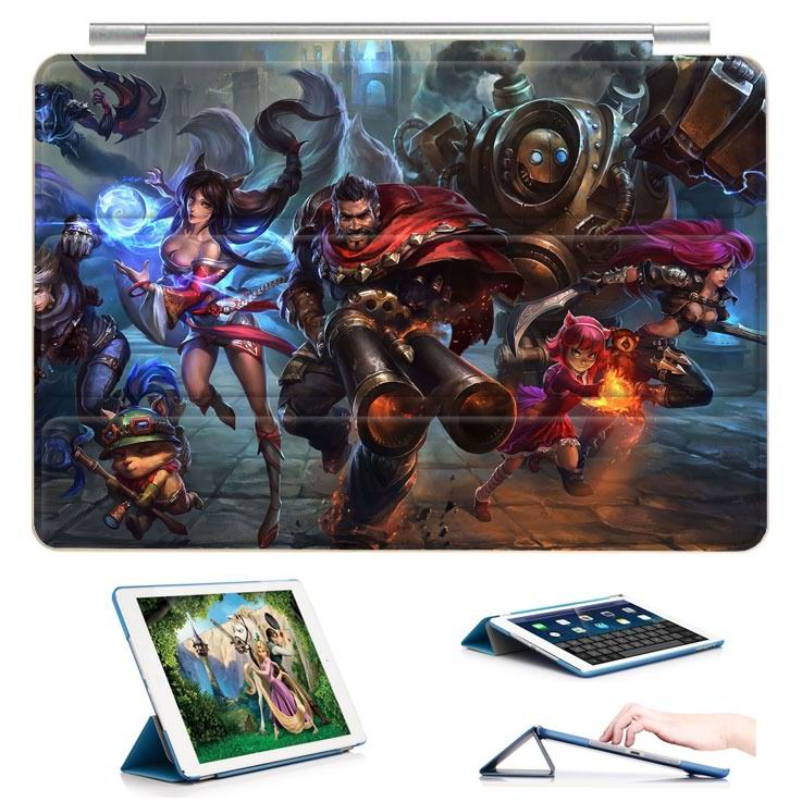 ipad air 2 case with 23 variants of different pictures of league legends and with 3 stand 1: