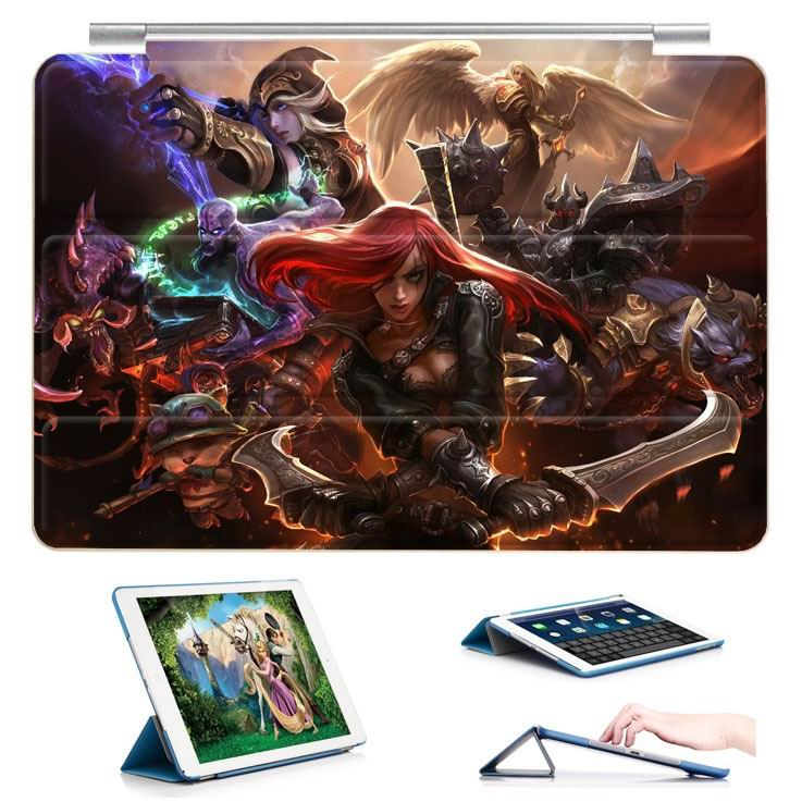ipad air 2 case with 23 variants of different pictures of league legends and with 3 stand 2: