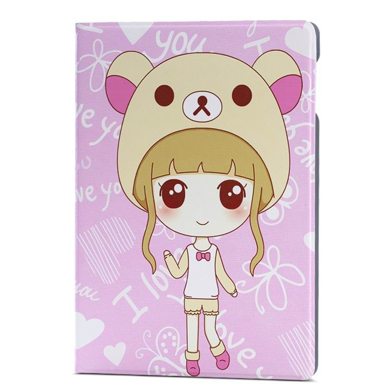 ipad air 2 case with a large collection of images 2 stand and plastic housing Bear hat Cute female:
