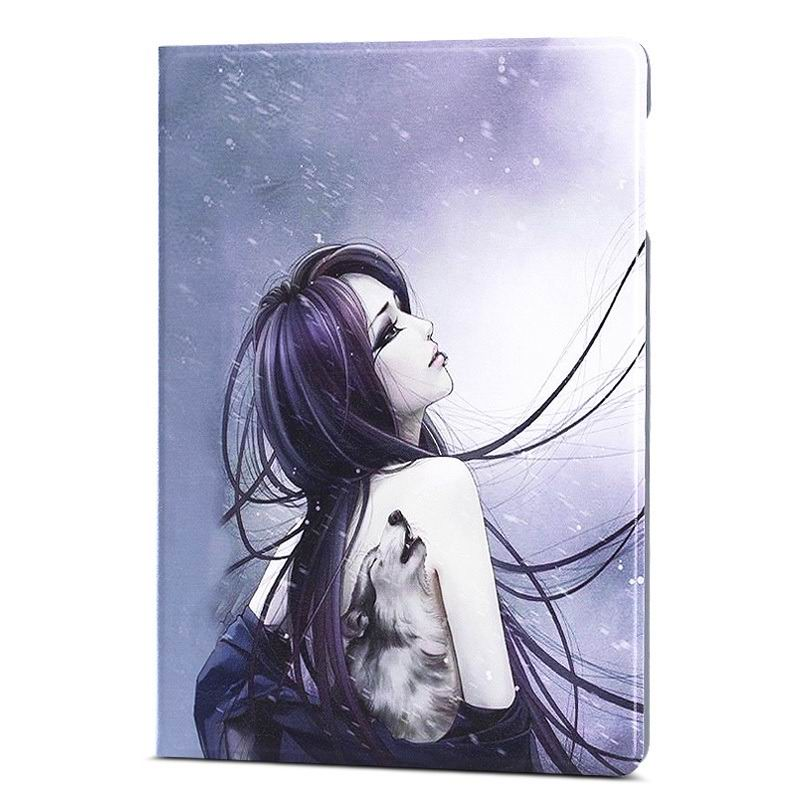 ipad air 2 case with a large collection of images 2 stand and plastic housing Tattoo wolf girl: