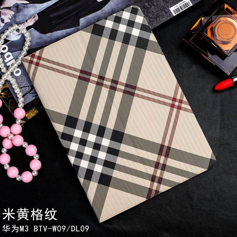 mediapad m3 case with a plaid pattern and 2 stand beige large plaid: