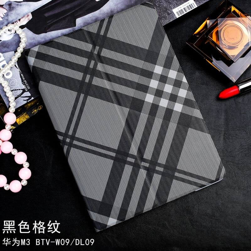 mediapad m3 case with a plaid pattern and 2 stand black large plaid: