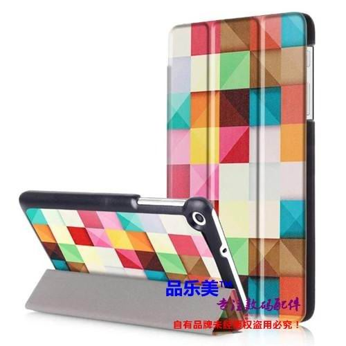 mediapad t1 70 plus case with bright illustrations 3 stand and with black frame Plaid: