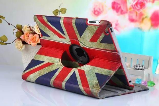 ipad air 2 case with bright pictures rotating 360 degrees stand and plastic body Union Jack: