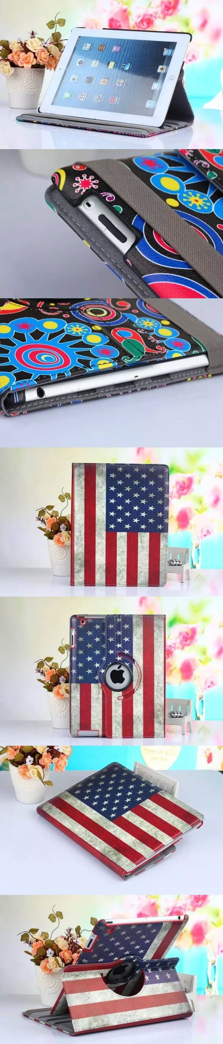 ipad air 2 case with bright pictures rotating 360 degrees stand and plastic body
