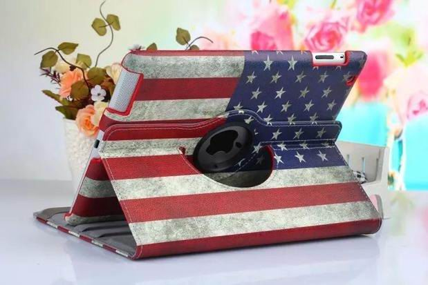 ipad air 2 case with bright pictures rotating 360 degrees stand and plastic body States flag: