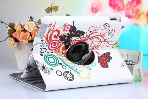 ipad air 2 case with bright pictures rotating 360 degrees stand and plastic body white butterfly: