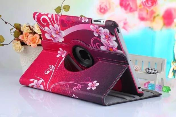 ipad air 2 case with bright pictures rotating 360 degrees stand and plastic body love flowers:
