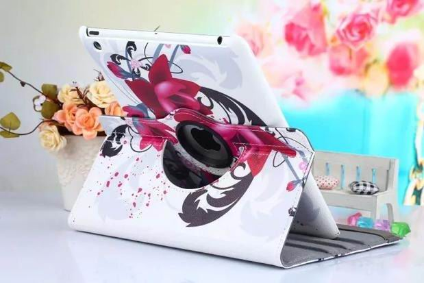 ipad air 2 case with bright pictures rotating 360 degrees stand and plastic body white trumpet flower: