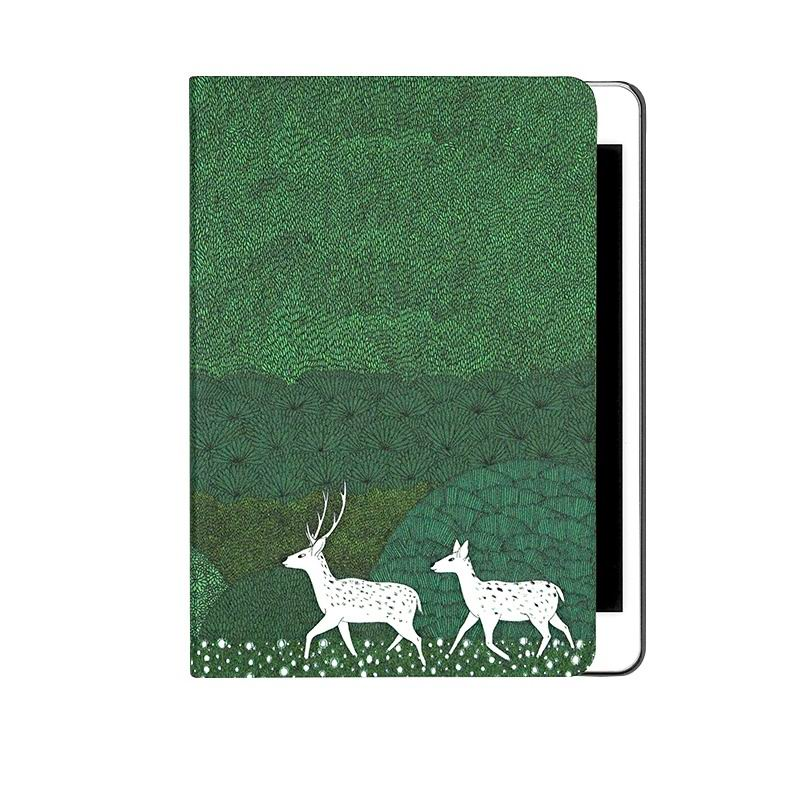ipad air 2 case with cute illustration of deers 2 stand and gray plastic housing