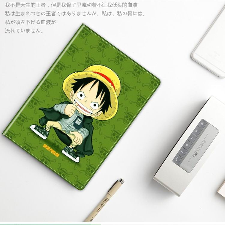 ipad mini 3 case with cute illustrations of cartoon heroes and with 2 stand green base Luffy: