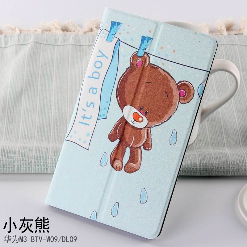 mediapad m3 case with cute pictures and different patterns and with 2 stand small grizzly bear: