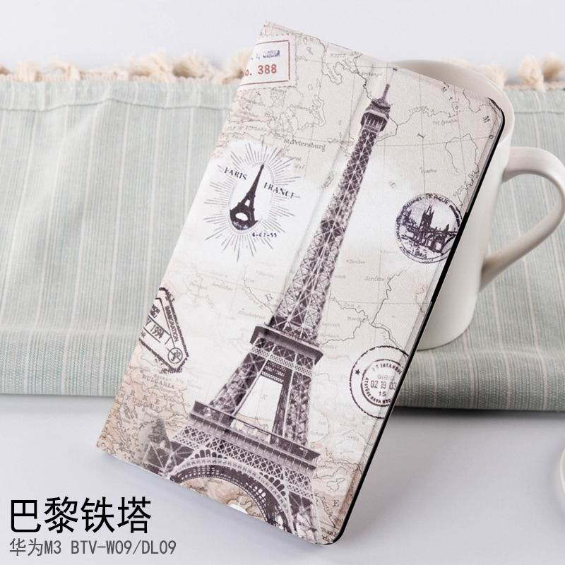 mediapad m3 case with cute pictures and different patterns and with 2 stand Eiffel Tower in Paris: