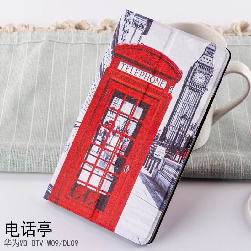 mediapad m3 case with cute pictures and different patterns and with 2 stand Telephone Booth: