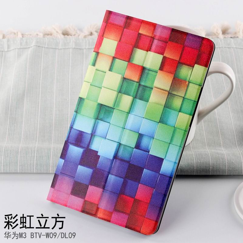 mediapad m3 case with cute pictures and different patterns and with 2 stand Rainbow: