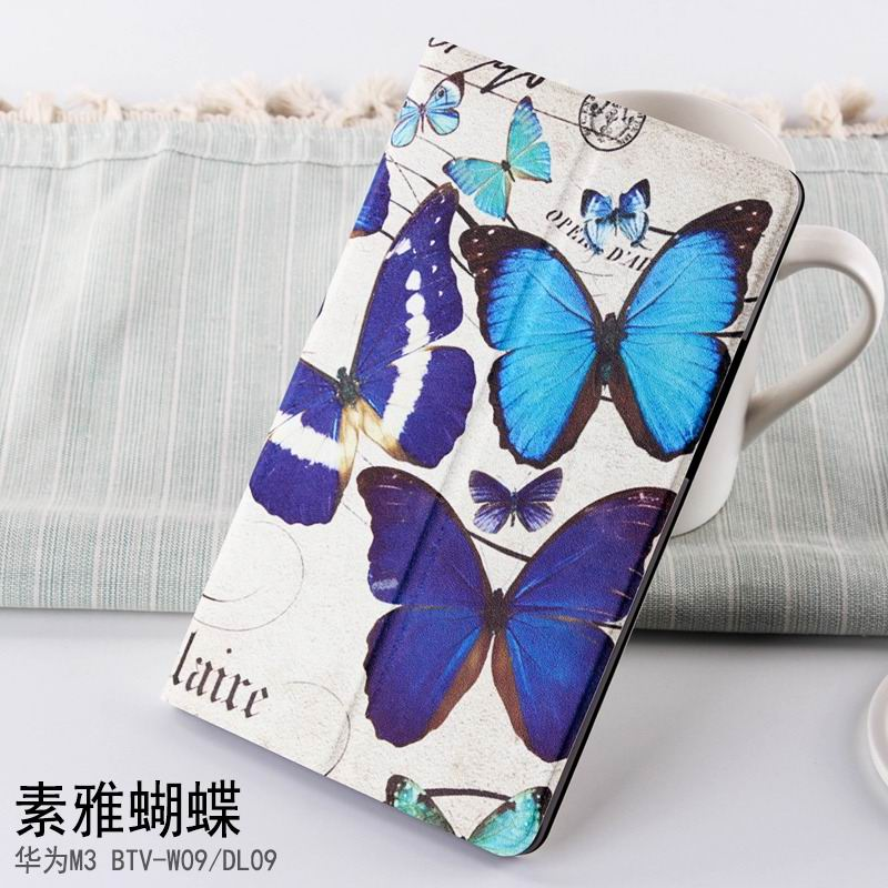 mediapad m3 case with cute pictures and different patterns and with 2 stand butterfly: