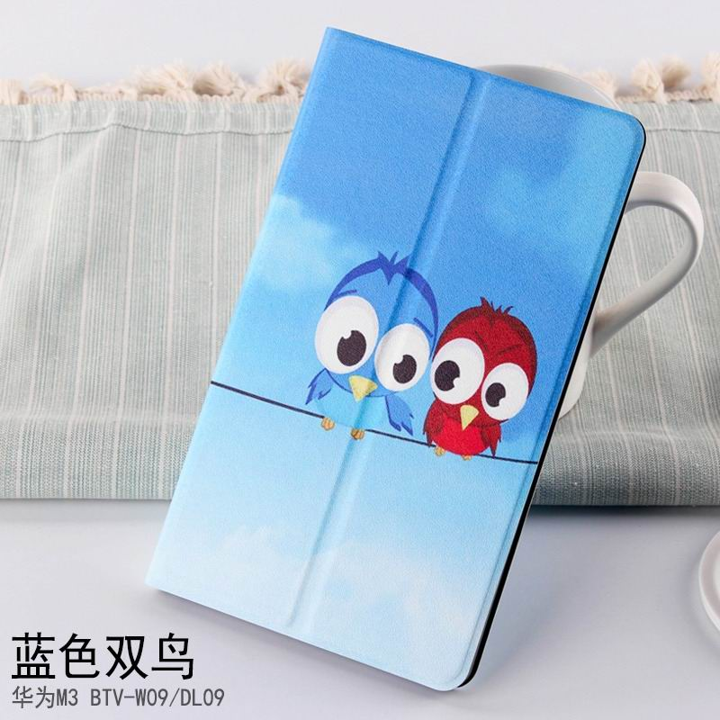 mediapad m3 case with cute pictures and different patterns and with 2 stand blue Double bird: