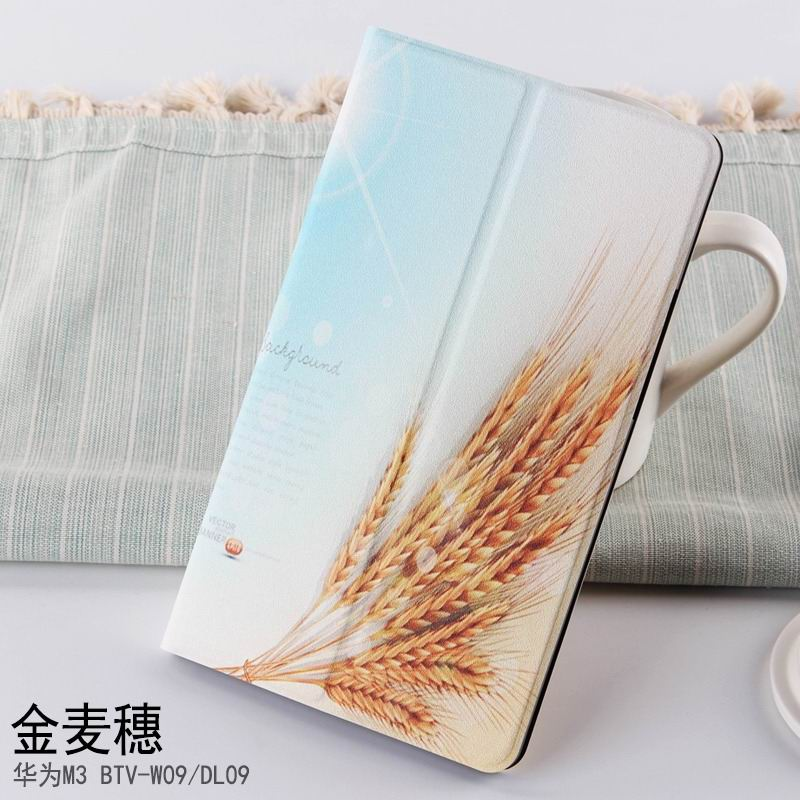 mediapad m3 case with cute pictures and different patterns and with 2 stand Golden wheat:
