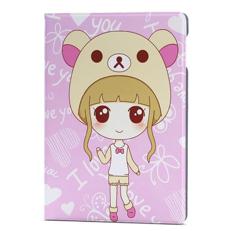 ipad air 2 case with different nice pictures with 2 stand and hard body bear girl: