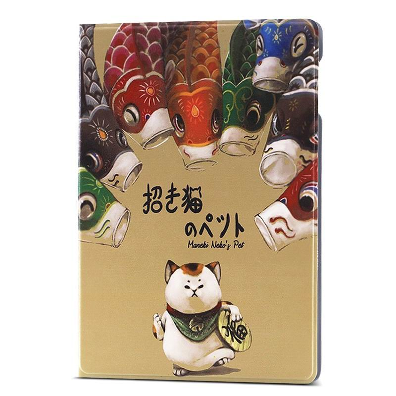 ipad air 2 case with different nice pictures with 2 stand and hard body Lucky cat: