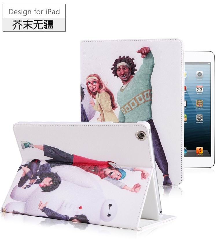 ipad air 2 case with images of cartoon heroes with 2 stand and hard white plastic body