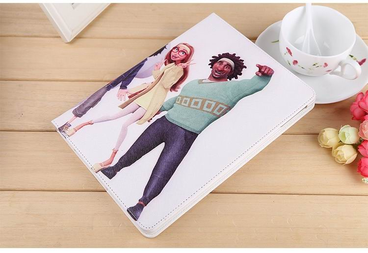 ipad air 2 case with images of cartoon heroes with 2 stand and hard white plastic body 8: