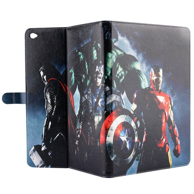 ipad air 2 case with pictures of cartoon heroes with 2 stand and plastic body 8:
