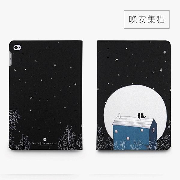ipad mini 4 cute case with 2 stand plastic body and wide variations of illustrations good night set cat:
