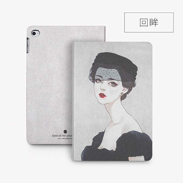 ipad mini 4 cute case with 2 stand plastic body and wide variations of illustrations looking back: