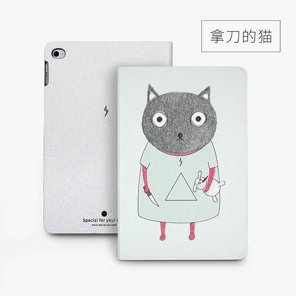 ipad mini 4 cute case with 2 stand plastic body and wide variations of illustrations knife cat: