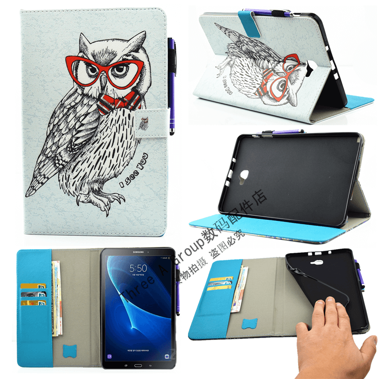 galaxy tab a 10 1 2016 cute case with a large selection of pictures 2 stand silicone housing and with holder owl: