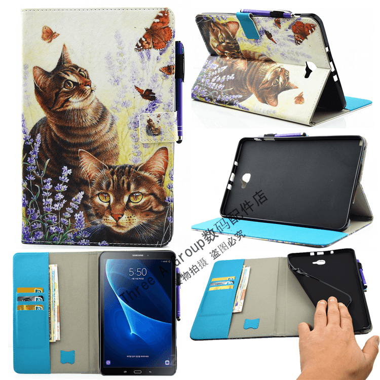 galaxy tab a 10 1 2016 cute case with a large selection of pictures 2 stand silicone housing and with holder cat: