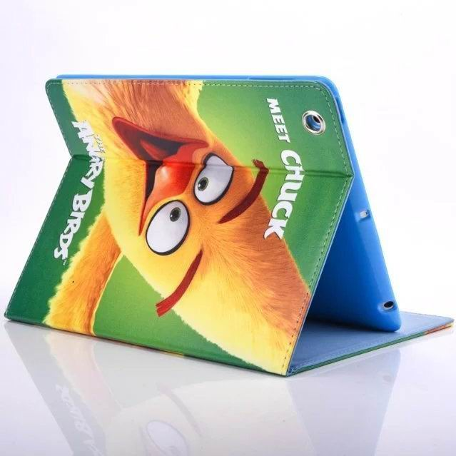 ipad air 2 cute case with pictures of cartoon birds 2 stand and blue silicone housing inside