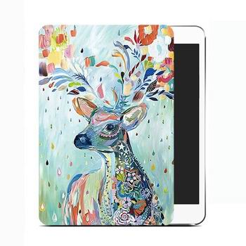 cute cover with a picture of a colorful deer and black inside with 2 stand and plastic body 00
