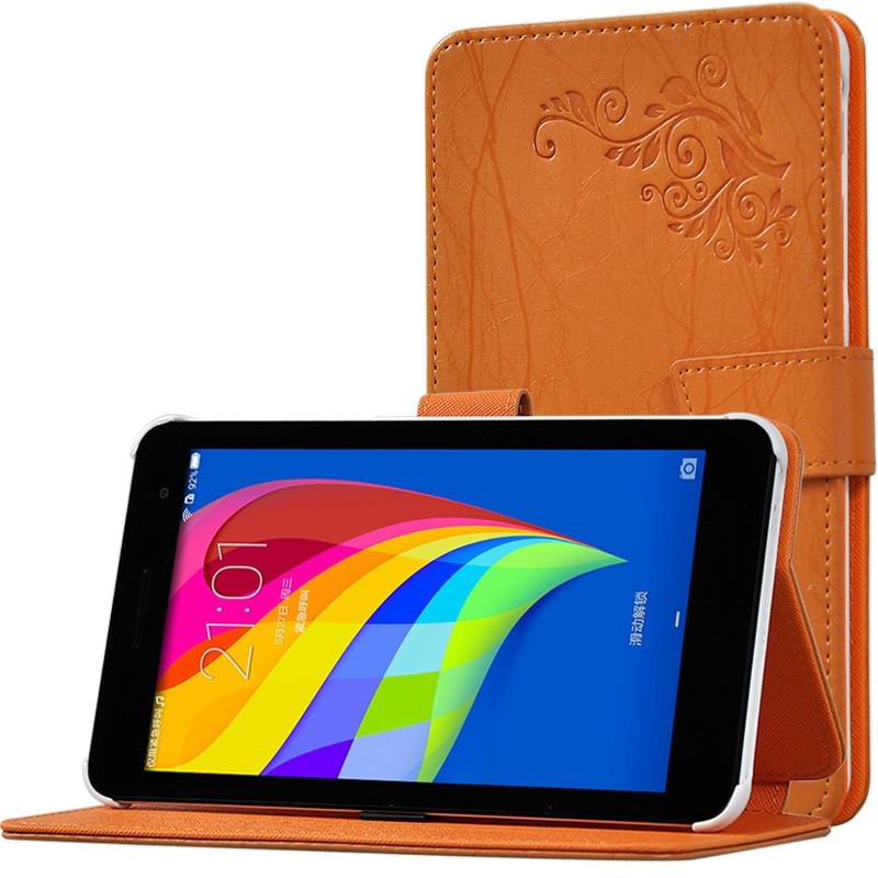 mediapad t1 70 plus monochromatic case with a pattern of branches and with plastic white body Orange: