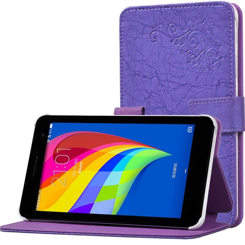 mediapad t1 70 plus monochromatic case with a pattern of branches and with plastic white body Purple: