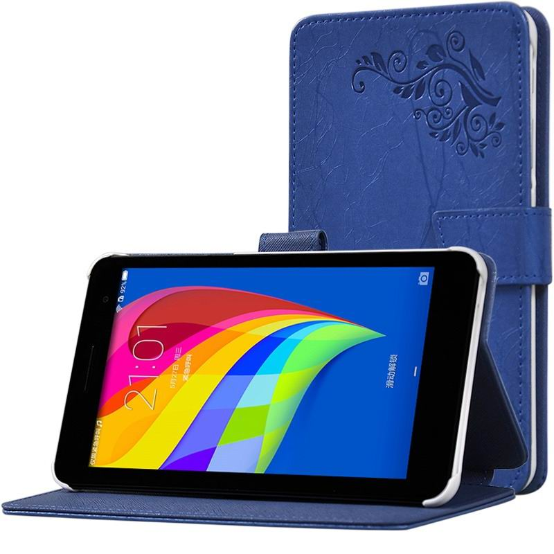 mediapad t1 70 plus monochromatic case with a pattern of branches and with plastic white body Blue: