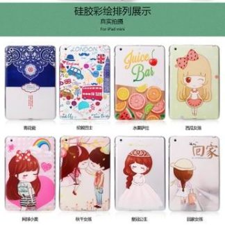 Silicone cover for woman with a wide range of cartoon pictures for iPad Air 1, iPad Air 2