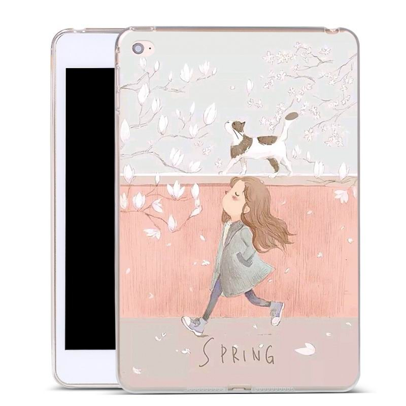 ipad air 2 silicone cover Girl and cat: