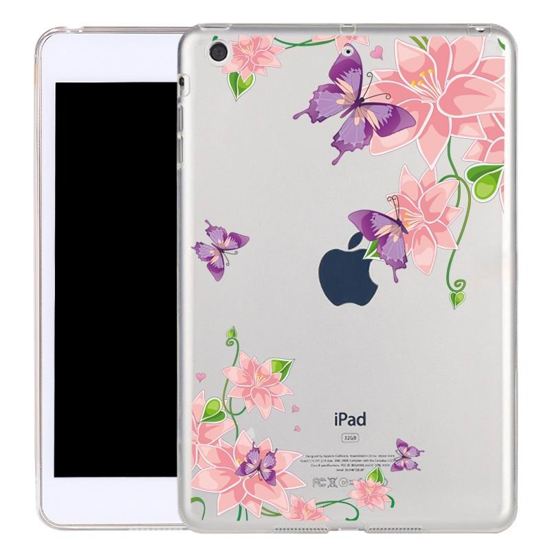 ipad air 2 silicone transparent cover with cute illustrations butterfly dance: