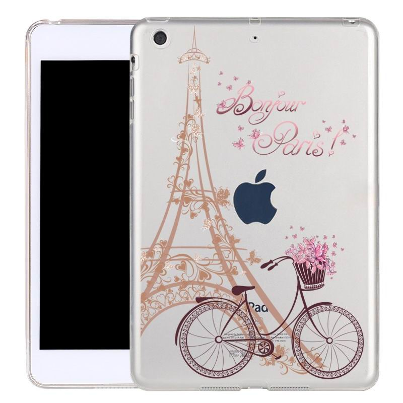 ipad air 2 silicone transparent cover with cute illustrations trip to Paris: