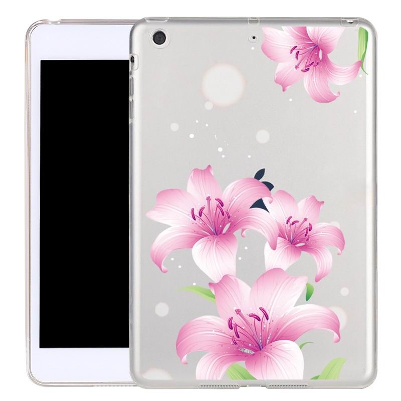 ipad air 2 silicone transparent cover with cute illustrations pink morning glory: