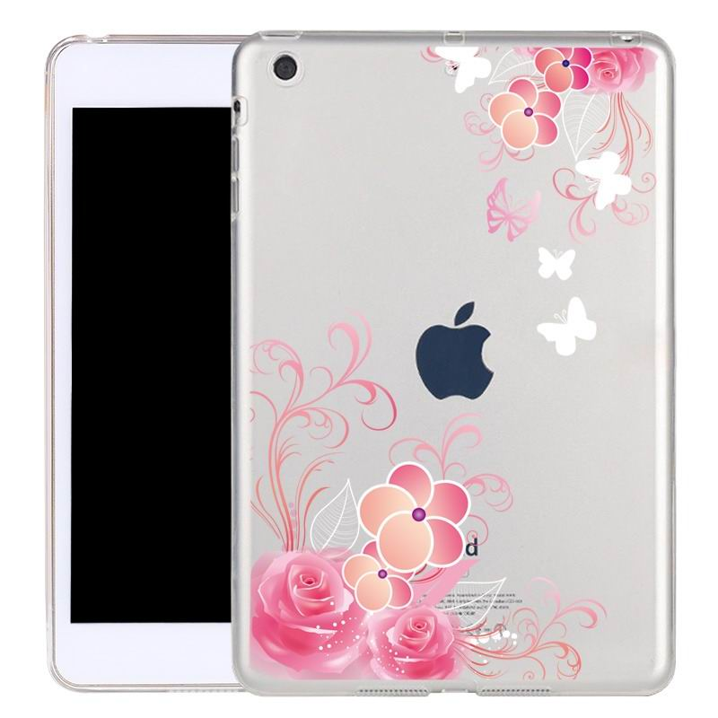 ipad air 2 silicone transparent cover with cute illustrations rose:
