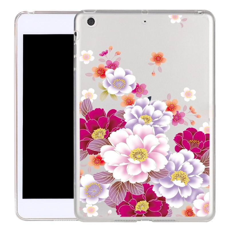 ipad air 2 silicone transparent cover with cute illustrations a hundred flowers bloom: