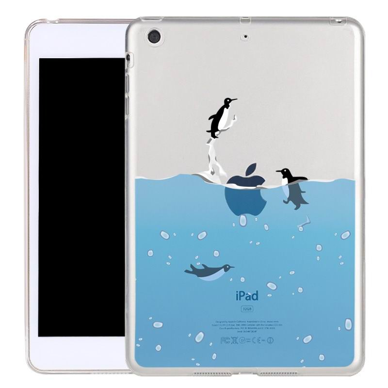 ipad air 2 silicone transparent cover with cute illustrations penguin: