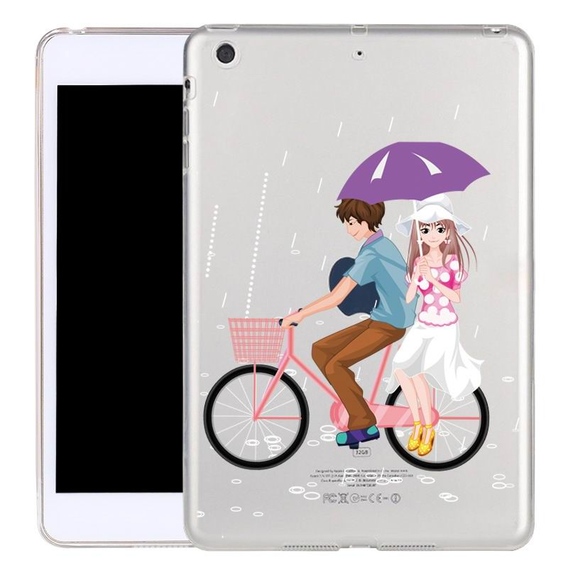 ipad air 2 silicone transparent cover with cute illustrations couple:
