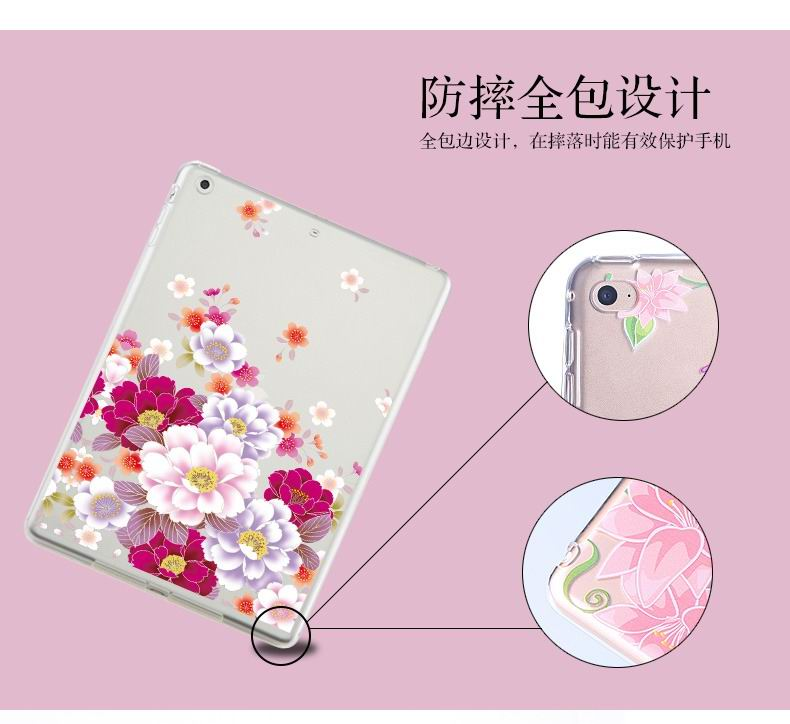 ipad air 2 silicone transparent cover with cute illustrations