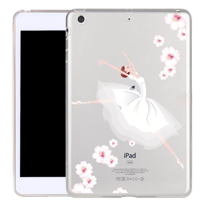 ipad air 2 silicone transparent cover with cute illustrations Swan dancers: