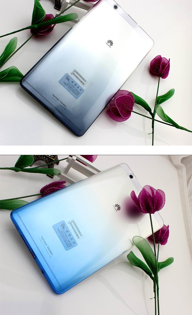 mediapad m3 silicone transparent cover with gradient color