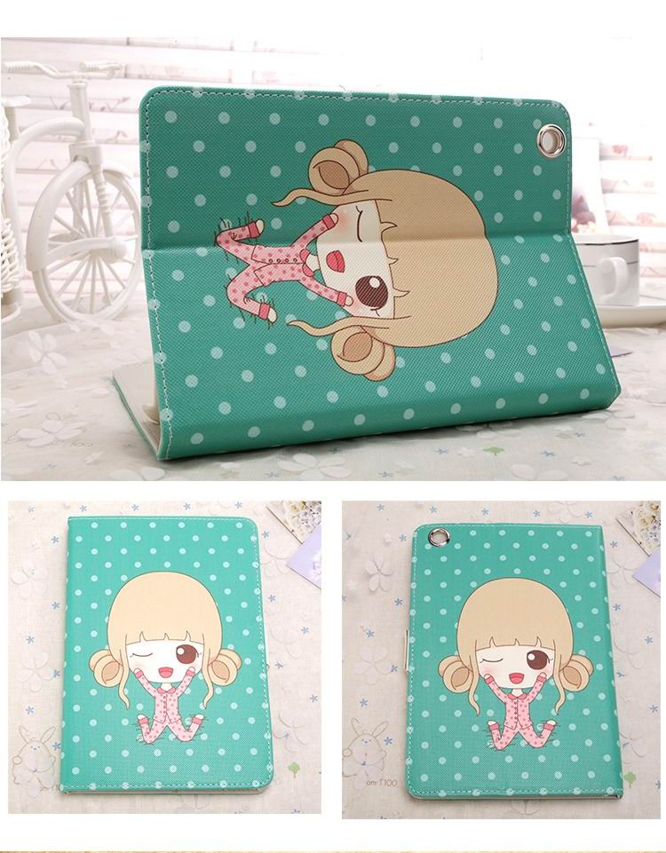 Case for woman with cute image of girl and with 2-stand ...